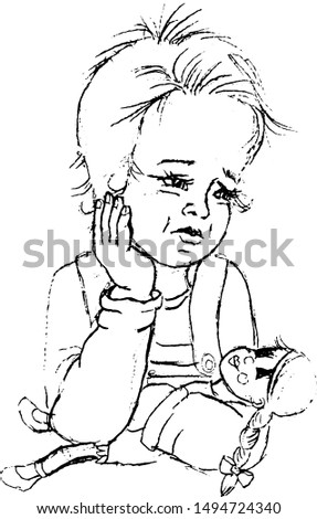 sad child with doll in arm. Pencil drawing