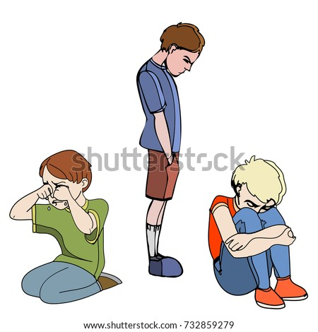 Sad children, kids. Boys. Vector outlined illustration. Colored image, white background.