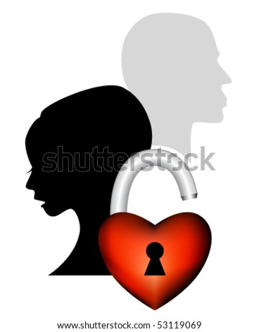 Sad couple having an argument - symbolic icon of broken love - unhappy woman and man with heart shaped padlock against white background - heartbreak concept