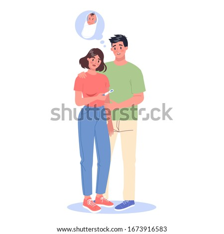 Sad couple looking at the negative pregnancy test, idea of infertility. Woman and man can't have a baby. Unhappy parents. Isolated vector illustration in cartoon style