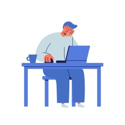 Sad, depressed and tired businessman working on the computer. Man sitting in front of the laptop his hand propping up head. Frustrated person doesn't want to work. Bored look. Wasting time concept