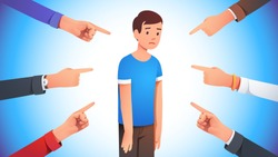 Sad, depressed, ashamed man surrounded by hands pointing him out with fingers. Harassment shame victim. Social disapproval blame and accusation concept. Flat style vector character illustration