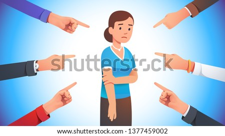 Sad, depressed, ashamed woman surrounded by hands pointing her out with fingers. Harassment shame victim. Social disapproval blame and accusation concept. Flat style vector character illustration