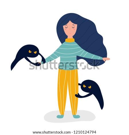 Sad depressed girl pulling apart by depression monsters, Depression illustrated concept,