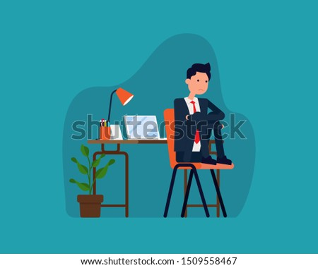 Sad depressed office worker. Vector burnout at work concept, Man at workplace sitting on chair holding knees. Flat cartoon style design.