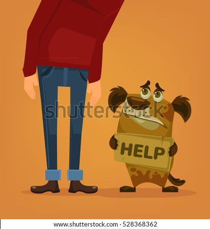 Sad dog character need home and help. Vector flat cartoon illustration