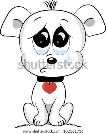 Sad dog. Vector illustration.