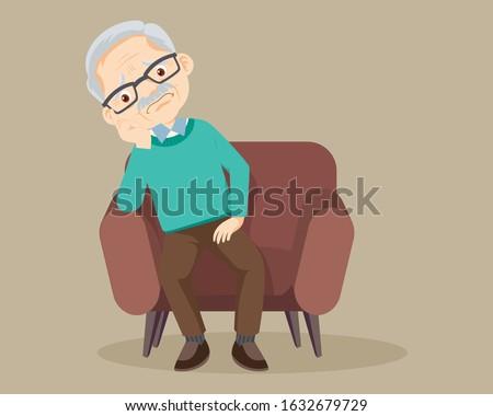 sad elderly man Bored, Senior man sitting alone on sofa
