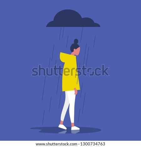 Sad female character standing under the rain. Overcast weather. Emotions. Solitude concept. Flat editable vector illustration, clip art