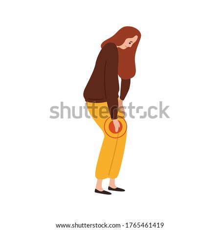 Sad female feeling pain in knee vector flat illustration. Upset woman having problem with legs suffering from ache isolated on white. Unhappy girl touching damaged feet with painful expression
