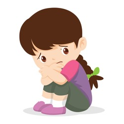 Sad Girl,Depressed Girl looking lonely .Illustration of a sad child, helpless, bullying. Girl feeling guilty.