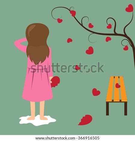 sad girl hold red broken heart