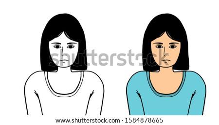 Sad girl. Sad girl vector. Sad girl illustration