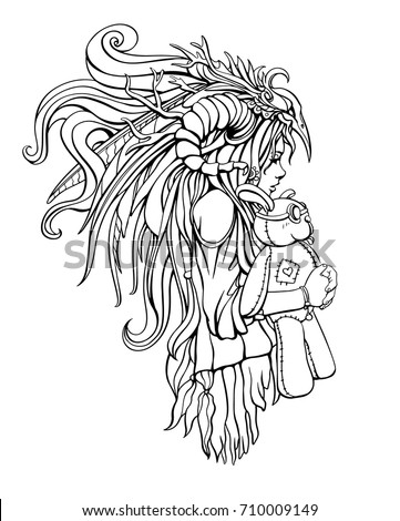 sad girl shaman hugging her