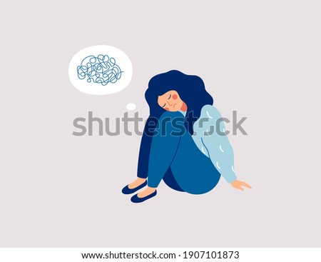 Sad girl sits on the floor with tangled thoughts. The unhappy child has confused thinking. The depressed adolescent has memory problems. Concept of mental disorder or illness. Vector illustration Stock foto ©