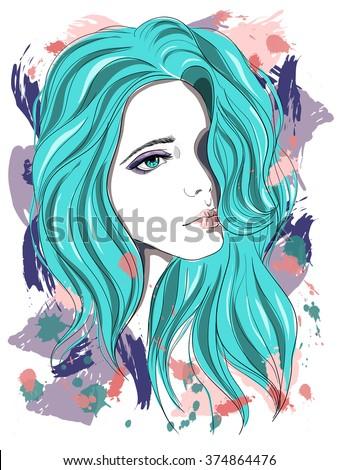 sad girl with blue hair vector