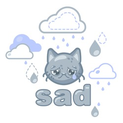 sad gray smiley face with a cat's face under a rain cloud