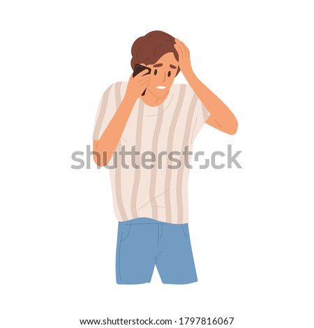 Sad guy holding head having bad news talking use smartphone vector flat illustration. Unhappy man with sorrowful face expression communicating on mobile phone isolated on white. Something went wrong