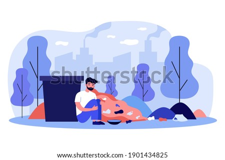 Sad homeless man sitting near trash container. Rubbish, cityscape, beggar flat vector illustration. Poverty and beggary concept for banner, website design or landing web page Photo stock ©
