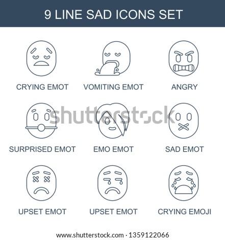sad icons. Trendy 9 sad icons. Contain icons such as crying emot, vomiting emot, angry, surprised emot, emo sad upset crying emoji. icon for web and mobile.
