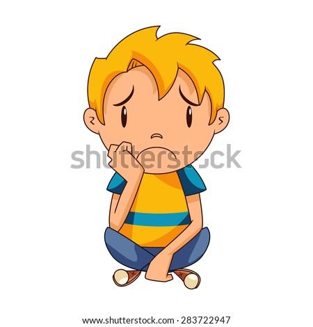 sad kid  vector