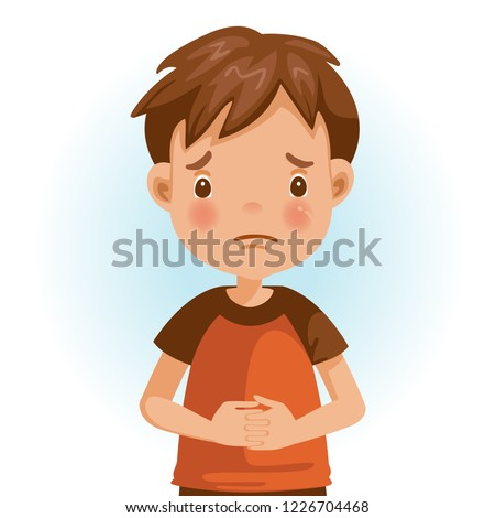 Sad Little boy. The face expresses regret. Child lament standing. Looking straight at you. Vector cartoons and illustrations isolated on white background.