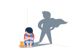 Sad little boy with teddy bear sitting on floor, superhero shadow on the wall. Child abuse, violence against children concept design.