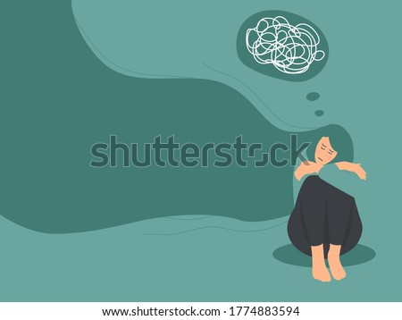 sad lonely woman to get rid of depression. A young unhappy girl sits and hugs her knees with confused on mind. The concept of support and care for people under stress. ストックフォト ©