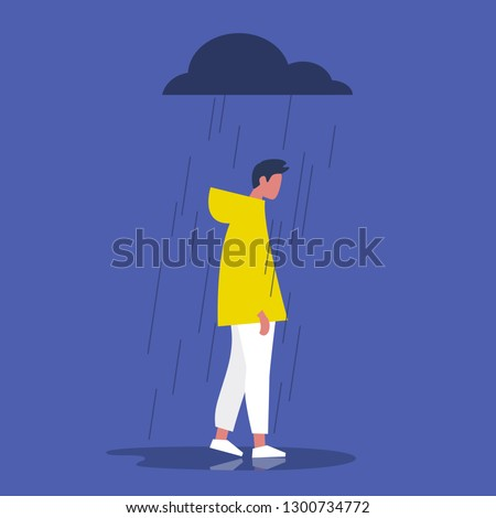 Sad male character standing under the rain. Overcast weather. Emotions. Solitude concept. Flat editable vector illustration, clip art
