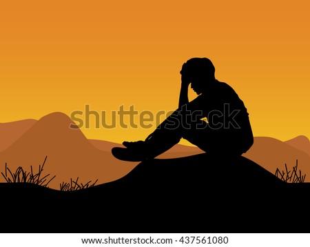 sad man silhouette worried on