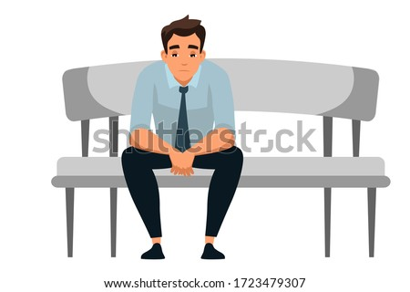 Sad man sits at sofa alone isolated person. Yong guy suffering from depression, experiences dismissal, gets into difficult life situation, despair, hopelessness feeling. Vector character illustration
