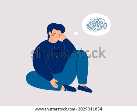 Sad man sits on the floor with tangled thoughts. The unhappy boy has confused thinking. The depressed male adolescent has memory problems. Concept of mental disorder or illness. Vector illustration