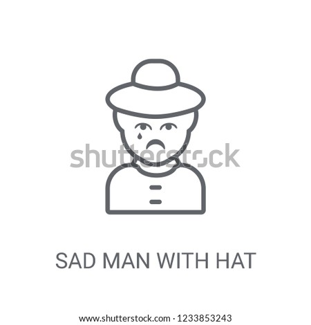 5aba97ba89d34 Sad man with hat icon. Trendy Sad man with hat logo concept on white  background