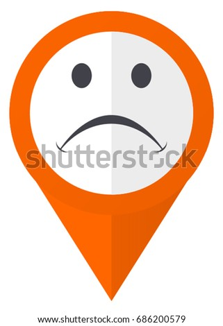Sad orange pointer vector icon in eps 10 isolated on white background.