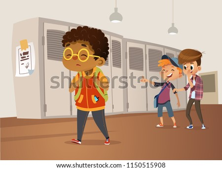 Sad overweight African-American boy wearing glasses going through school. School boys and gill laughing and pointing at the obese boy. Body shaming, fat shaming. Bullying at school. Vector