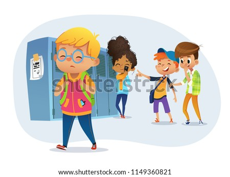 Sad owerweight boy wearing glasses going througs skhool. School boys and gill laughing and pointing at obese boy. Body shaming, fat shaming. Bulling at school. Vector illustration