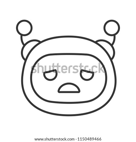 Stock Photo Sad robot emoji linear icon. Upset chatbot smiley. Thin line illustration. Chat bot emoticon. Artificial conversational entity. Virtual assistant. Contour symbol. Vector isolated outline drawing