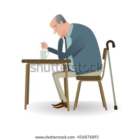sad senior man with cane