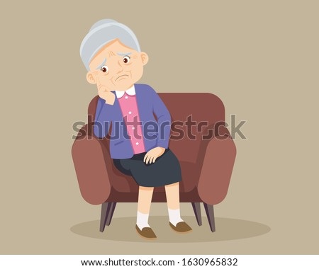 sad    senior woman sitting
