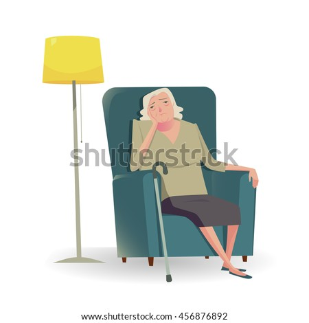 sad senior woman with cane