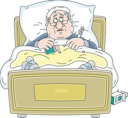 Sad sick man having flu, measuring temperature with a thermometer, taking different pills and lying in his bed in quarantine, vector cartoon illustration on a white background