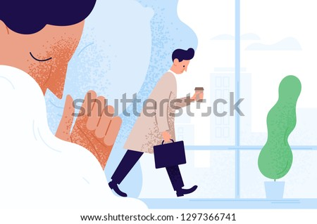 Sad sleepy man or clerk holding paper coffee cup, going to work and dreaming about get sleep. Morning fatigue, tiredness and sleepiness of office worker. Vector illustration in flat cartoon style.