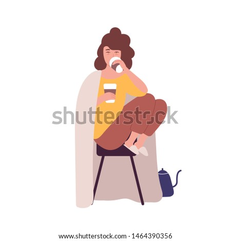 Sad sleepy young woman drinking coffee. Concept of caffein dependence or addiction, abnormal behavior. Mental illness, behavioral problem, psychiatric condition. Flat cartoon vector illustration.