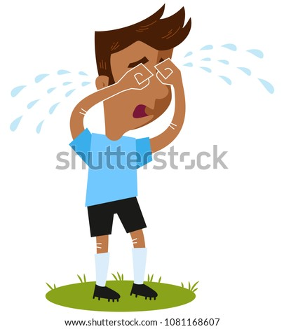 Sad South American cartoon football outfield player crying many tears standing on green isolated on white background, funny vector illustration Foto d'archivio ©