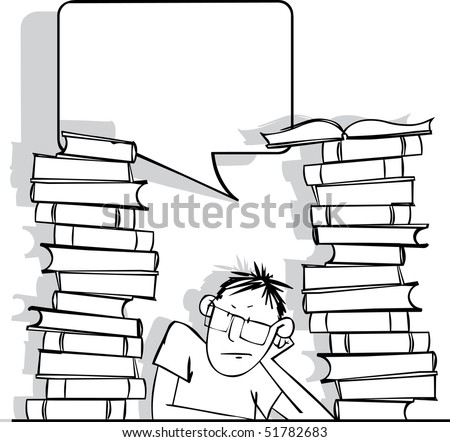 Sad student with a big pile of books