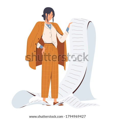 Sad stylish business woman hold giant task list, paper document, shopping bill, tax invoice. Time management or payment concept. Impossible agenda. Flat vector cartoon illustration isolated on white