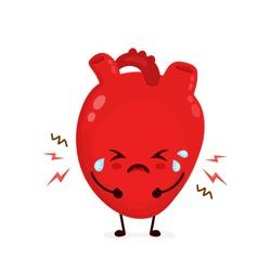 Sad suffering sick crying cute heart character. Vector flat cartoon kawaii illustration icon design. Isolated on white backgound. Heart attack,broken,sick,paun,ache concept