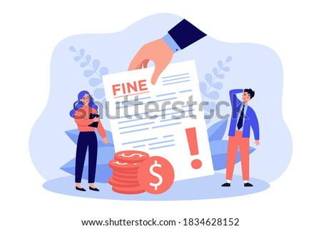 Sad tiny people getting punishment notice flat vector illustration. Man and woman paying traffic bill, municipal tax or parking fee as penalty from police. Financial mulct and economy concept