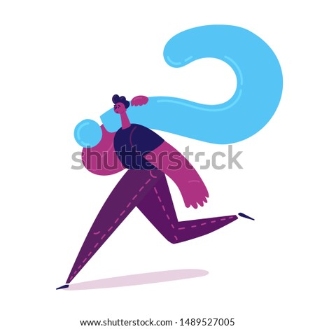 Sad tired man carrying a huge question mark to find ways to solve the problem, the concept of life difficulties. The man runs away from problems. Vector illustration
