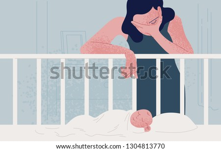 Sad tired woman leaning over newborn baby sleeping in crib and covering face with hand. Concept of postpartum or postnatal depression, mood disorder following childbirth. Flat vector illustration.